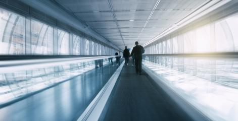 Blurred skywalk with Commuters- Stock Photo or Stock Video of rcfotostock | RC-Photo-Stock
