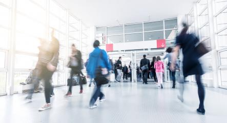 Blurred trade fair visitors at a entrance - Stock Photo or Stock Video of rcfotostock | RC-Photo-Stock