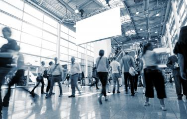 Blurred trade fair visitors at a European Exhibition- Stock Photo or Stock Video of rcfotostock | RC-Photo-Stock