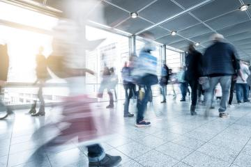 Blurred trade fair visitors walking- Stock Photo or Stock Video of rcfotostock | RC-Photo-Stock