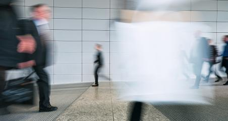 blurred trade fair visitors walking in a floor- Stock Photo or Stock Video of rcfotostock | RC-Photo-Stock