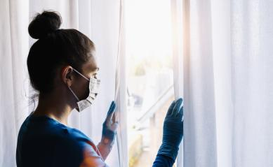 Bored woman in coronavirus  COVID-19 quarantine or under curfew looking out of window at a summer day : Stock Photo or Stock Video Download rcfotostock photos, images and assets rcfotostock | RC-Photo-Stock.: