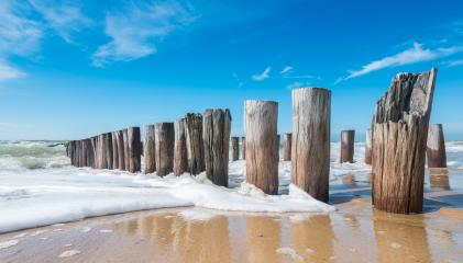 Breakwaters in waves on the beach at the north sea in Domburg Holland- Stock Photo or Stock Video of rcfotostock | RC-Photo-Stock