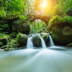 Bridge over a fairy tale waterfall- Stock Photo or Stock Video of rcfotostock | RC-Photo-Stock