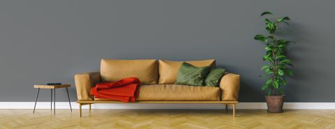 Bright sofa in the living room with room for a canvas on the wall - Stock Photo or Stock Video of rcfotostock | RC-Photo-Stock