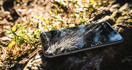Broken screen smartphone outdoor after hiking- Stock Photo or Stock Video of rcfotostock | RC-Photo-Stock