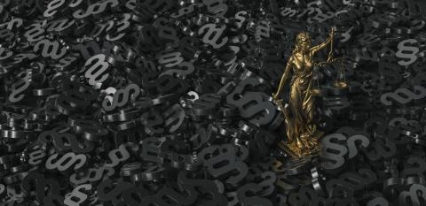 Bronze lady with scale, symbol of justice and law with black paragraphs background- Stock Photo or Stock Video of rcfotostock | RC-Photo-Stock