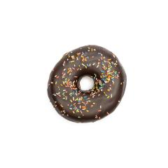 brown chocolate coated doughnut with colorful sprinkles, isolated on white background- Stock Photo or Stock Video of rcfotostock | RC-Photo-Stock