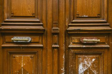 brown wood old door in the centre of paris- Stock Photo or Stock Video of rcfotostock | RC-Photo-Stock
