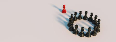 bullying concept, red pawn of chess, standing out from the crowd of blacks, banner size- Stock Photo or Stock Video of rcfotostock   RC-Photo-Stock