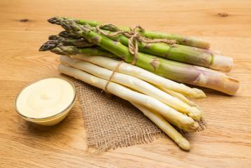 bundels of asparagus with hollandaise sauce- Stock Photo or Stock Video of rcfotostock | RC-Photo-Stock