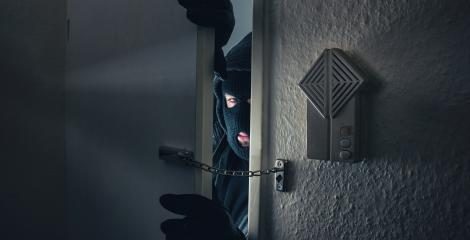 Burglar Breaking Into the House door at night : Stock Photo or Stock Video Download rcfotostock photos, images and assets rcfotostock | RC-Photo-Stock.: