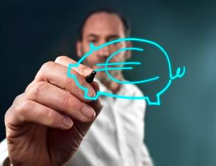 Business man draws a piggy bank- Stock Photo or Stock Video of rcfotostock   RC-Photo-Stock