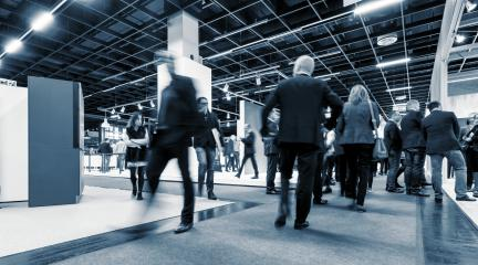 Business People Commuter Walking at Rush Hour on a trade fair- Stock Photo or Stock Video of rcfotostock | RC-Photo-Stock