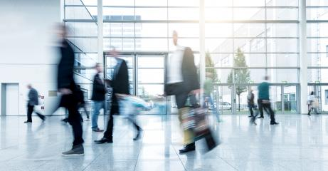 Business People Commuter Walking Rush Hour at a trade fair- Stock Photo or Stock Video of rcfotostock | RC-Photo-Stock