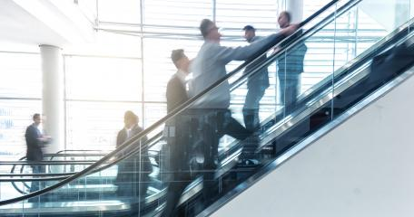 business people on a escalator - business concept- Stock Photo or Stock Video of rcfotostock | RC-Photo-Stock