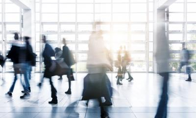 business people rushing at a Exhibition hall- Stock Photo or Stock Video of rcfotostock | RC-Photo-Stock