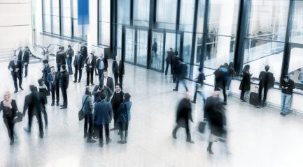 business people rushing in a modern trade fair lobby- Stock Photo or Stock Video of rcfotostock | RC-Photo-Stock