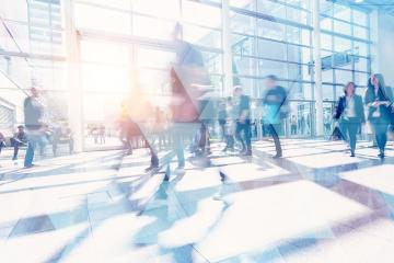 Business people walking and talking in a modern company office. Geometric pattern and skyscrapers foreground. Toned image double exposure mock up blurred : Stock Photo or Stock Video Download rcfotostock photos, images and assets rcfotostock | RC-Photo-Stock.: