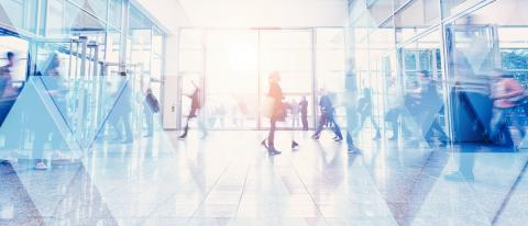Business people walking and talking in a modern company office. Geometric pattern and skyscrapers foreground. Toned image double exposure mock up blurred- Stock Photo or Stock Video of rcfotostock | RC-Photo-Stock