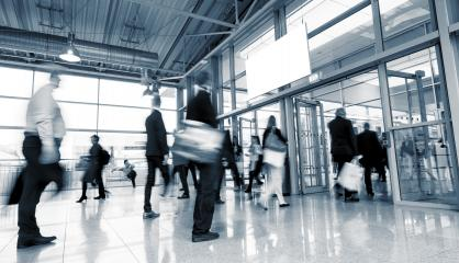 Business People Walking at a European Trade Fair- Stock Photo or Stock Video of rcfotostock | RC-Photo-Stock
