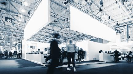 business people walking between trade fair booths at a public event exhibition hall, with banner and copy space for individual text  : Stock Photo or Stock Video Download rcfotostock photos, images and assets rcfotostock | RC-Photo-Stock.: