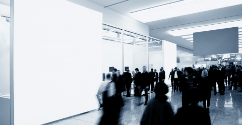 business people walking between trade show booths and advertising posters or banner. ideal for websites and magazines layouts- Stock Photo or Stock Video of rcfotostock | RC-Photo-Stock