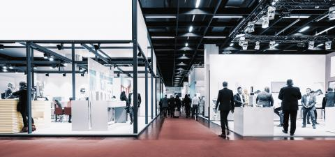 business people walking between trade show booths. ideal for websites and magazines layouts- Stock Photo or Stock Video of rcfotostock | RC-Photo-Stock