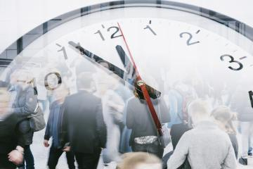 Business times concept people walking overlay with time clock- Stock Photo or Stock Video of rcfotostock | RC-Photo-Stock