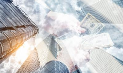 businessman counting dollar notes. Skyscraper office building on Double exposure background- Stock Photo or Stock Video of rcfotostock | RC-Photo-Stock