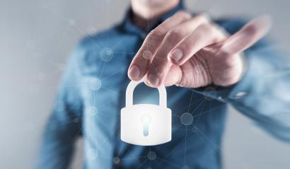 Businessman holding digital padlock to the secure- Stock Photo or Stock Video of rcfotostock | RC-Photo-Stock