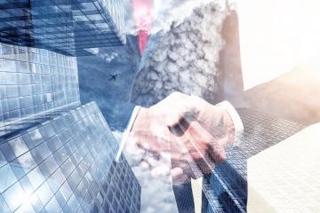 businessman shaking hands after good deal. double exposure skyscraper on the background : Stock Photo or Stock Video Download rcfotostock photos, images and assets rcfotostock | RC-Photo-Stock.: