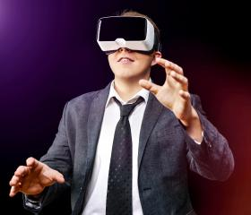 Businessman uses Virtual Realitiy VR head-mounted display- Stock Photo or Stock Video of rcfotostock | RC-Photo-Stock