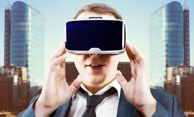 Businessman uses Virtual Reality VR head mounted display : Stock Photo or Stock Video Download rcfotostock photos, images and assets rcfotostock | RC-Photo-Stock.: