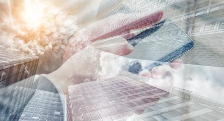 businessman using a modern smartphone touching with hand. double exposure skyscraper on the background- Stock Photo or Stock Video of rcfotostock | RC-Photo-Stock