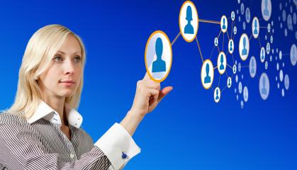 Businesswoman works with futuristic network- Stock Photo or Stock Video of rcfotostock | RC-Photo-Stock