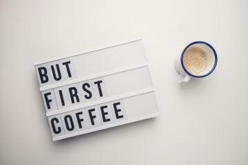 But First Coffee displayed on a vintage lightbox with coffee cup, concept image- Stock Photo or Stock Video of rcfotostock | RC-Photo-Stock