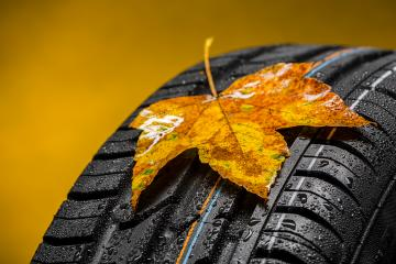 Canadian Car tire with maple leaf in autumn and raindrops : Stock Photo or Stock Video Download rcfotostock photos, images and assets rcfotostock | RC-Photo-Stock.: