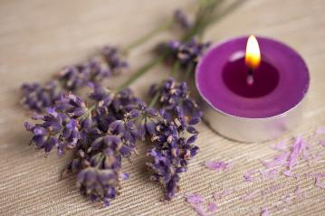 candel with flamme with lavender : Stock Photo or Stock Video Download rcfotostock photos, images and assets rcfotostock | RC-Photo-Stock.:
