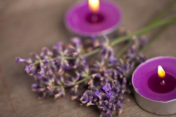 candels with flamme with lavender : Stock Photo or Stock Video Download rcfotostock photos, images and assets rcfotostock | RC-Photo-Stock.: