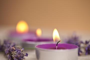 candels with flamme with lavender- Stock Photo or Stock Video of rcfotostock | RC-Photo-Stock
