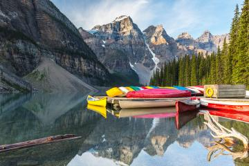 Canoeing at the moraine lake in banff canada  : Stock Photo or Stock Video Download rcfotostock photos, images and assets rcfotostock | RC-Photo-Stock.: