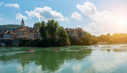 Canoeing at the rhine river at Laufenburg, Baden-Wurttemberg, Germany, Europe.- Stock Photo or Stock Video of rcfotostock | RC-Photo-Stock