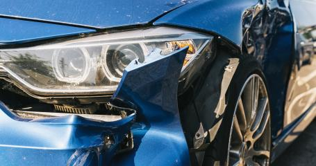 Car crash or accident. Front fender from a blue car and light damage and scratchs on bumper. Broken vehicle detail or close up. - Stock Photo or Stock Video of rcfotostock | RC-Photo-Stock