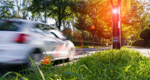 car drives into a radar trap, safe road traffic concept image- Stock Photo or Stock Video of rcfotostock | RC-Photo-Stock