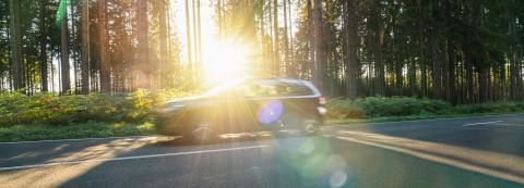 car drives Long a Forest Road In Alpine Mountains at sunset- Stock Photo or Stock Video of rcfotostock | RC-Photo-Stock