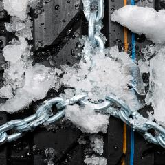 Car tire profil close-up with snow chains and ice  : Stock Photo or Stock Video Download rcfotostock photos, images and assets rcfotostock | RC-Photo-Stock.: