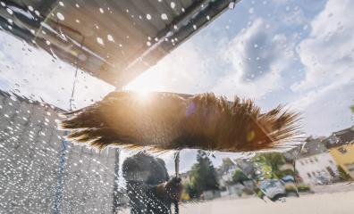 car wash with a cleaning brush- Stock Photo or Stock Video of rcfotostock | RC-Photo-Stock