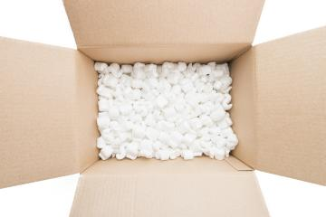 cardboard box with packing foam pellets top view, isolated on white background : Stock Photo or Stock Video Download rcfotostock photos, images and assets rcfotostock | RC-Photo-Stock.: