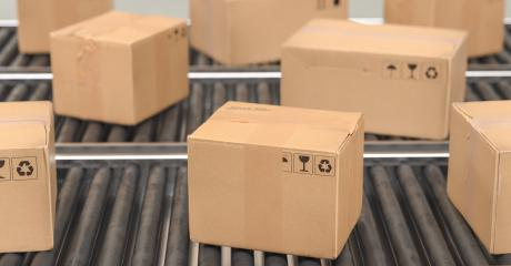Cardboard boxes on a conveyor line, Delivery concept image- Stock Photo or Stock Video of rcfotostock | RC-Photo-Stock